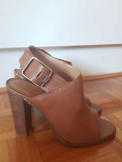 Leather open toed boots/heels