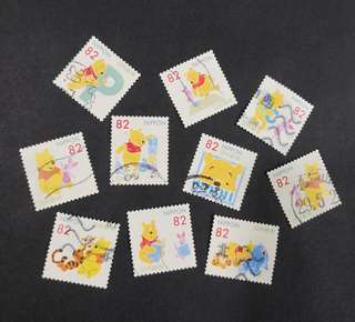 Japan. Greetings stamps featuring Winnie the Pooh complete set.