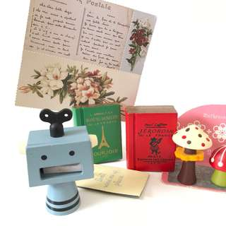 Japan zakka wooden robot pencil sharpener decole