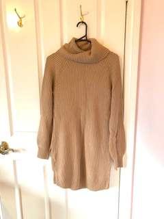 Brown Turtleneck Sweater Dress