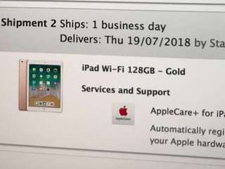 Apple iPad 128G Air 9.7 WiFi 2018 with apple care