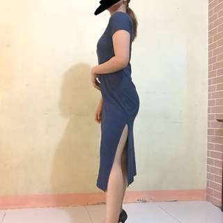 Navy blue dress with slit