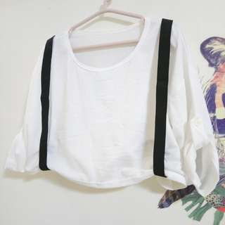 落肩可拆式吊帶七分袖短版白色上衣#女裝半價拉