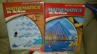 Mathematics in Action 2A, 2B 兩本一起賣, (欠多課,有四份一課無左,宜粗用, 練習用),2009 edition, 屯門交收