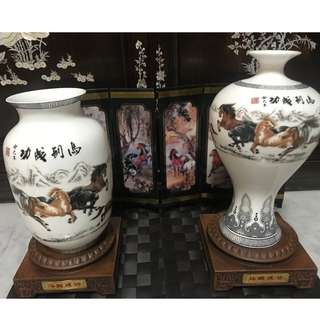 Horses of Prosperity & Success Porcelain Vase with Folding Screen Set