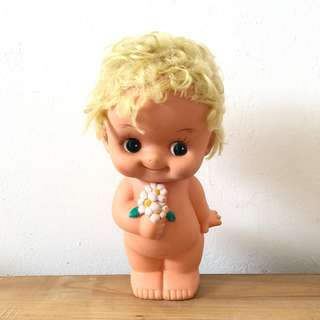 Vintage curly blonde hair kewpie with flowers