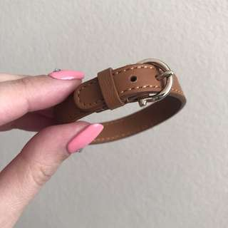 SALVATORE FERRAGAMO TAN LEATHER BRACELET