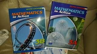 2014 年edition, (第二版),Mathematics in Action 3A, 3B 兩本,( Chapter 1 to 11 全有), 屯門交收