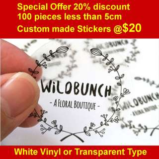 100 pieces stickers of size less than 5cm Custom print on White Vinyl or Transparent only at $20