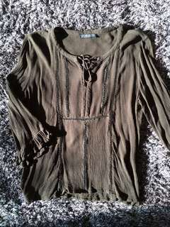 Khaki Bell Sleeve Embroidered Top