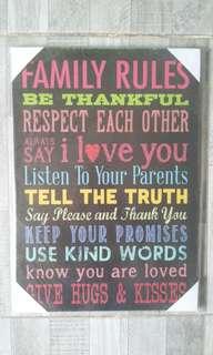 Family rules wall decor
