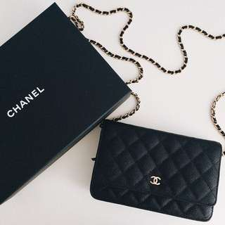 Chanel Wallet on Chain Caviar gold hardware