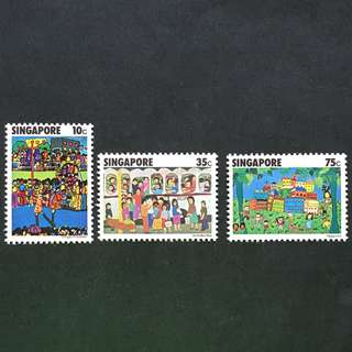 Singapore 1977 Children's Art full set of 3v MnH