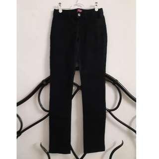 Black skinny straight legged jeans