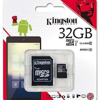 Kingston 32GB micro SD HC card