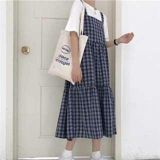 韓版格子吊帶長裙