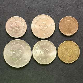 Taiwan Small Change 6 pieces of coins selling @ 2$