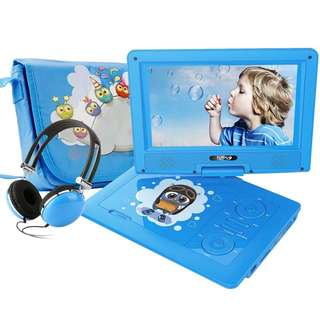 """359 (Brand New) FUNAVO 9.5"""" Portable DVD Player with Headphone, Carring Case, Swivel Screen, 5 Hours Rechargeable Battery, SD Card Slot and USB Port (Blue)"""