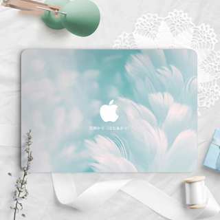 Soft Wavy Blue Feather Cloud Macbook Vinyl Decal