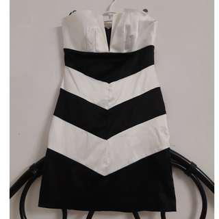 Black and white semi formal mini dress