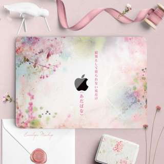 Japanese Watercolour Bright Florals Macbook Vinyl Decal