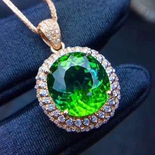 9.5ct Green Tourmaline Diamond Pandent