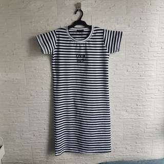 Stripes Casual Long Dress (Navy Blue & White)