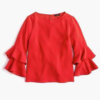 全新 J.Crew Tiered Bell-Sleeve Top in Drapey Crepe Red Color 紅色上衣 荷葉袖