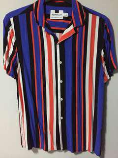 Topman multi striped revere collared shirt