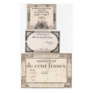 1793-95年法蘭西(第一)共和國法定鈔票共三枚(法國大革命後第一批貨幣, 保真, 單面印刷)