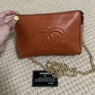 Vintage Chanel焦糖色魚子醬Pouch/clutch/chain bag 22cm