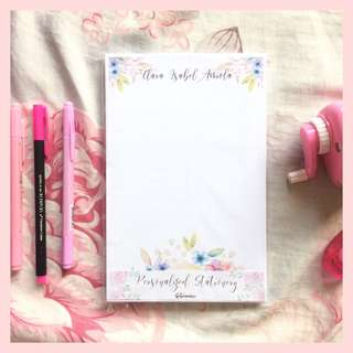 White and Blue Floral Notepad