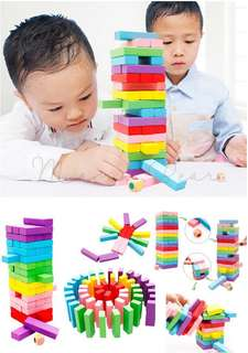 Kids Colorful Wooden Building Blocks Tower Stacking Toy