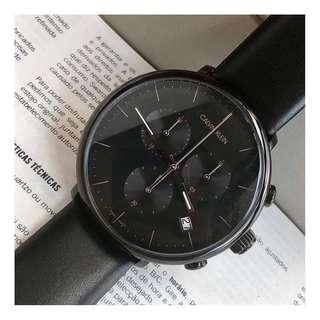 美國品牌 Calvin Klein K8M274CB HIGH NOON系列 礦物強化玻璃 三眼計時 男錶 真皮錶帶 手錶 腕錶 (WT22-700)
