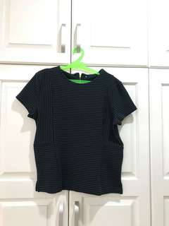 Green and Black Striped Soft Blouse