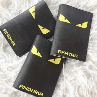 CUSTOM PASSPORT HOLDER FENDI MONSTER black