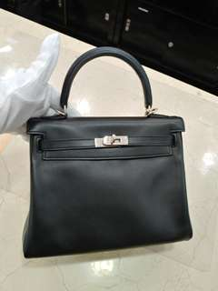 Hermes kelly 25 in black x stamp
