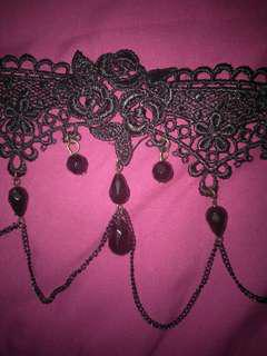 Choker black rose with diamonds