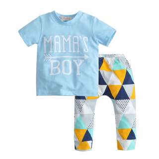 🚚 🌟INSTOCK🌟 2pc Blue Mama Boy Short Sleeves Top with Prism Pants Kids Set Newborn Toddler Baby Clothing for boys