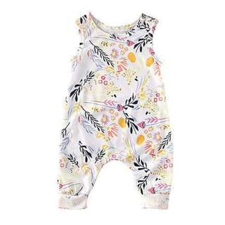 🚚 🌟INSTOCK🌟 Pastel Summer Floral Print Jumpsuit Newborn Toddler Baby Romper for girls