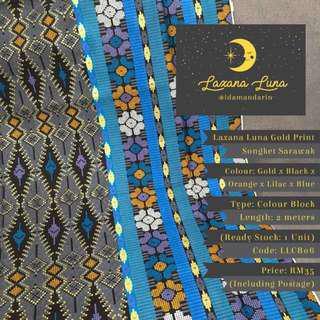 Laxana Luna: Colour Block Gold Print Batik Sarawak LLCB06
