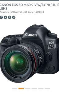 CANON EOS 5D MARK IV W/24-70 F4L IS LENS