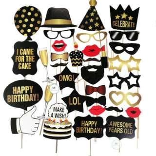 Happy Birthday 34PCS photobooth props party Set