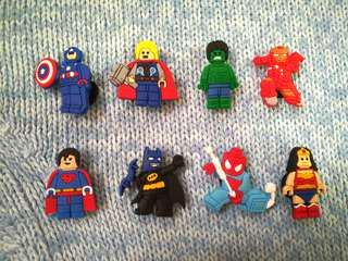 Jibbitz Inspired Crocs Charms: Lego Avengers DC Marvel Heroes