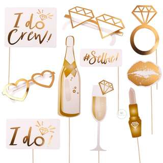 I Do 10PCS photobooth props Set Wedding Hen Party Proposal bride to be