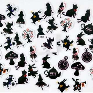 Black cat and Alice mini sticker set 45pcs