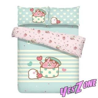 Yes Zone 卡通精品 卡娜赫拉 Kanahei 粉紅兔兔 正版 單人/雙人 三件套床笠被套四件套床單