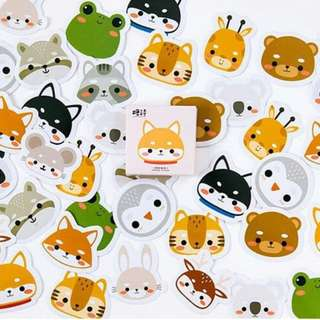 Cute chibi animals mini sticker set 45pcs