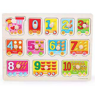 (Puzzle2) Wooden Numbers Peg Board Knob Educational Alphabets Vehicles Animals Puzzles