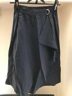Made in Korea 藏藍色系扣橡筋腰半身裙